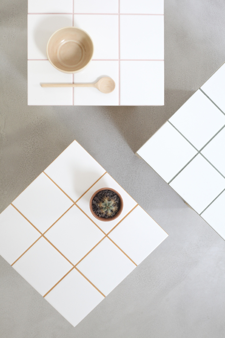 DIY tiled side table and plant stand by Heju of Paris.