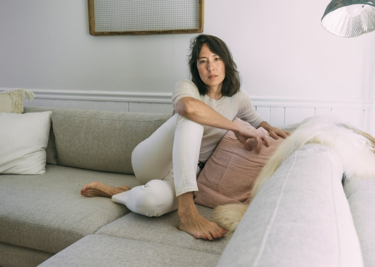 Lisa Przystup on Couch of Catskills Farmhouse, Photo by April ValenciaLisa Przystup on Couch of Catskills Farmhouse, Photo by April Valencia