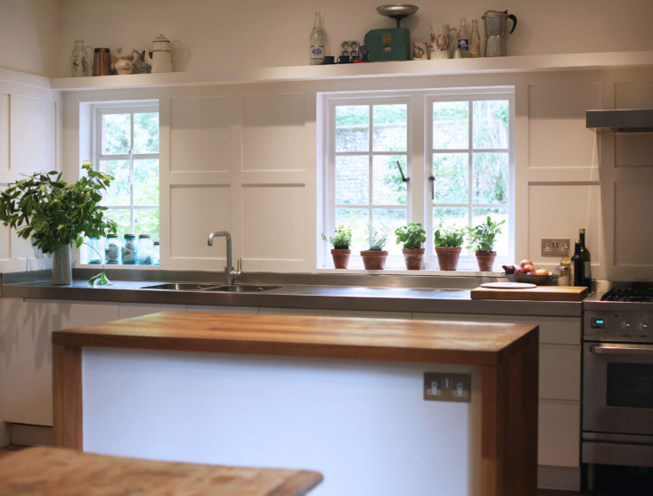 Ikea kitchen with GEC Anderson steel countertop, Barton Edge sitting room, Winchester, England, Victoria Suffield and Phil Webb.