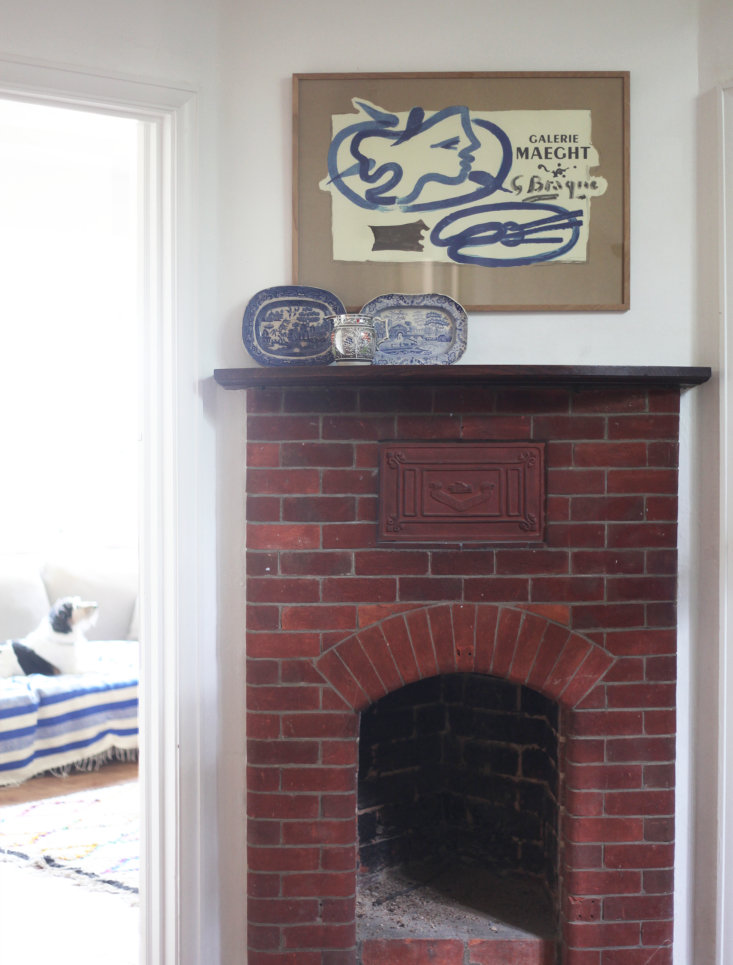 Brick fireplace in hall, Barton Edge sitting room, Winchester, England, Victoria Suffield and Phil Webb.