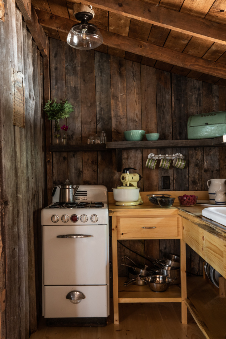 Kitchen in Jocelyn Dickson Maine Rock Camp, Photo by Greta Rybus for Remodelista