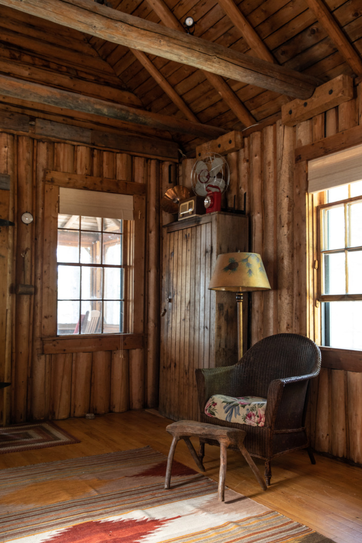 Living Room in Jocelyn Dickson Maine Rock Camp, Photo by Greta Rybus for Remodelista