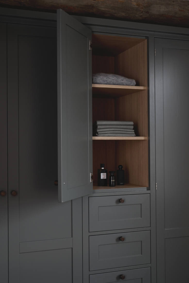 Built-in clothes cabinets in a dressing room by Kvanum of Sweden