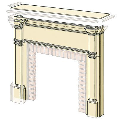 Illustration of the fireplace mantel pieces.