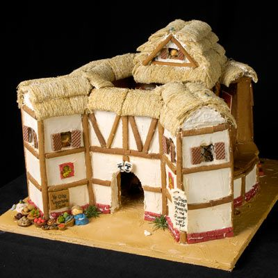 Cool gingerbread house with wafters use to create a wheat roof.
