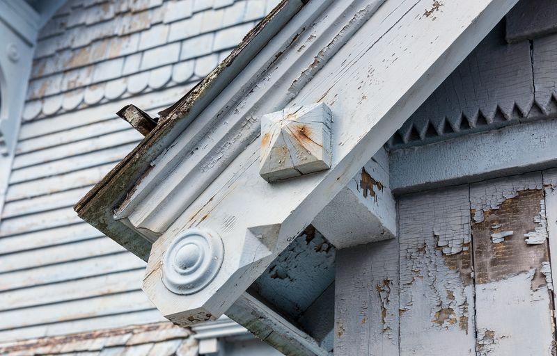 peeling paint detail, Seaside Victorian Cottage, Queen for a New Day, Nov/Dec 2020
