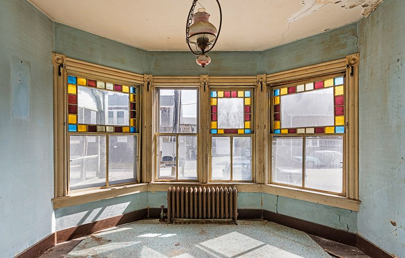 original stained glass windows, Seaside Victorian Cottage, Queen for a New Day, Nov/Dec 2020