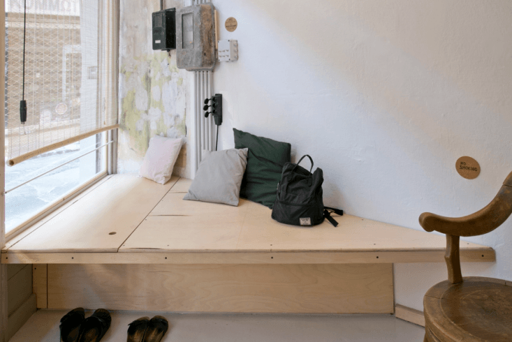 Plywood Bench at Passer Domesticus in Greece by 157-173 Designers