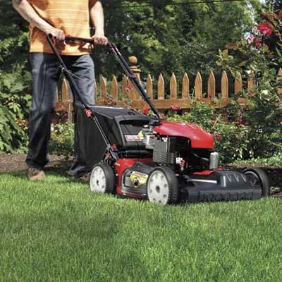 Man Cutting Grass With Manual Lawn Mower